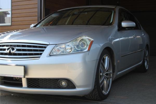 Nissan Fuga I Рестайлинг серый передний бампер